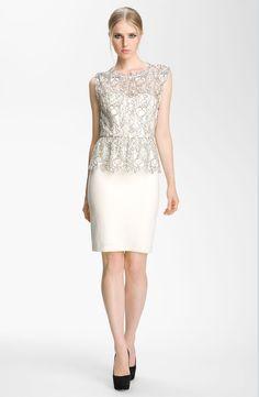Alice + Olivia Shovan Lace Overlay Peplum Dress in Beige (white/ black) | Lyst