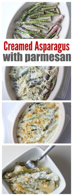 Creamed Asparagus with Parmesan Cheese - Amazing Recipes - Asparagus Recipes Healthy Creamed Asparagus, Parmesan Asparagus, Baked Asparagus, Asparagus Recipe, Asparagus With Cheese, Asparagus Casserole, Side Dishes Easy, Vegetable Side Dishes, Main Dishes