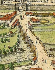 """""""Hogenberg's 1587 plan of the city, based on a drawing by John Hooker, shows the Exe Bridge in some detail, left. In reality the bridge had more arches than is shown but St Edmund's church is visible towards the West Gate, as is Frog Street. The plan also shows the recesses in the bridge used by pedestrians to keep out of the way of carts. Various mills and leats can also seen. The mills were used for fulling cloth, upon which much of Exeter's medieval and early post-medieval wealth was…"""