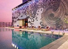 Top 17 House Wall Painting Examples   MostBeautifulThings W Hotel, Hotel Pool, Hotel Lobby, Hotel Suites, Rooftop Pool, Outdoor Pool, Cabana, Hong Kong, Home Wall Painting
