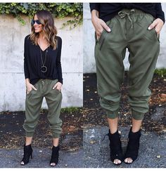 Love this outfit ! Cargo Pants Outfit, Green Cargo Pants, Joggers Outfit, Trouser Pants, Casual Work Outfit Summer, Summer Fashion Outfits, Stylish Outfits, Olive Skinny Jeans, Look Con Short