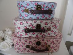Set of 3 SHABBY VINTAGE STYLE CHIC PETITE ROSE FLORAL  CARDBOARD STORAGE CASES