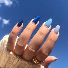 Polygel Nails, Oval Nails, Oval Nail Art, Neon Nails, Pastel Nails, Coffin Nails, Stylish Nails, Trendy Nails, Blue Ombre Nails