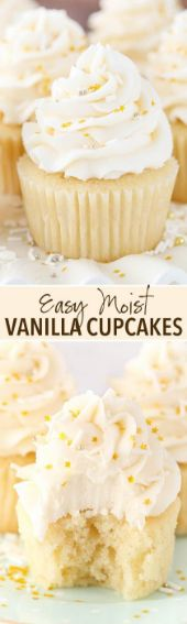 cupcake recipes These Moist Vanilla Cupcakes are super easy to make and so moist for days! They are my new favorite vanilla cupcake! I mentioned a couple weeks ago that Id be bringing you some new basic favorites and I started with a chocolate cake. Easy Desserts, Delicious Desserts, Dessert Recipes, Yummy Food, Mini Desserts, Homemade Cupcake Recipes, Jello Desserts, Delicious Cupcakes, Plated Desserts