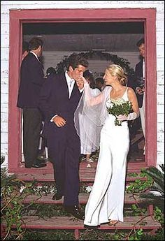 John F. Kennedy Jr. and Carolyn Bessette Kennedy are seen after their secret wedding on an island off the coast of Georgia in 1996.  (AP Photo)