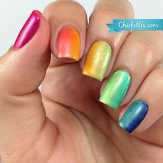 Rainbow Gradient Mermaid Nails