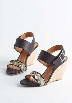 Hit or Bliss Wedge in Black by BC Footwear - Mid, Faux Leather, Black, Print, Buckles, Casual, Daytime Party, Summer, Better, Wedge, Slingback, Tan / Cream