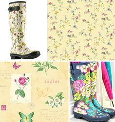 Floral Boots and wallpaper combination Floral Boots, April Showers, Pretty Wallpapers, Flower Wall, Flower Power, Rubber Rain Boots, Bring It On, Flowers, Design