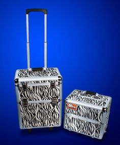 """New 2in1 Deluxe 38"""" Makeup Artist RollingAluminum TrainCase Box with Zebra strip * For more information, visit image link."""