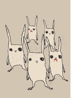 """Zombie rabbits by badbird on etsy"""