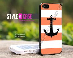iPhone 5 case Anchor Coral & White Stripe iPhone by StyleAndCase, $9.99