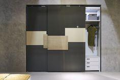 "Flushing door closet ""Infinity"" with 150cm doors width. Here with panels/handles in laser and glazed gold. #bedroom #furniture #madeinitaly #fimes #ilsalonedelmobile2017 #interiordesign #design #flushingdoor #headboard #flushingwardrobe"