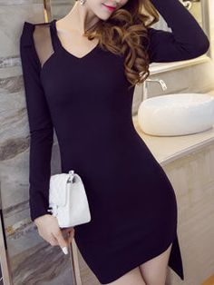 Seductive Fashion Women Long Sleeve V Neck Wrap Asymetrical Hem Dresses