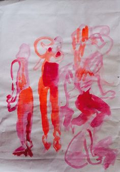 """Holly Froy """"Pink Ladies""""  Ink on paper"""
