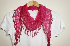 Pink Lace Scarf Turban Turband Hair Wrap by SULTANSACCESSORIES, $9.50