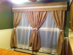 Love how my burlap valence and curtains turned out! :)