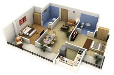 39-2-bedroom-apartment-planimple with a small but functional kitchen, two outdoors paces, and en-suite bathrooms. The blue tile in each adds a dash of color to an otherwise neutral palette.