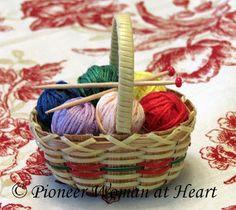 ~Pioneer Woman at Heart ~  Knitting Basket Christmas Tree Ornament