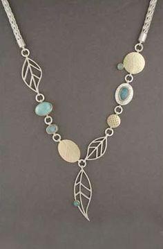 Carol Henning Necklace, sterling silver, 18 karat gold, opal doublets,   aquamarine