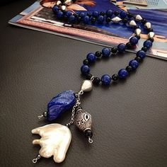 Phyllis Clark's Lapis and Pearl Necklace #lapis #necklace #jewelry #pearls