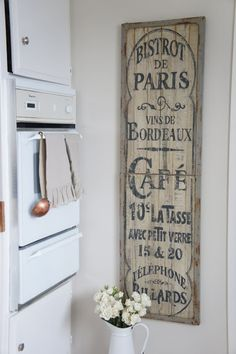 rustic french kitchen sign more wall art kitchens old shutters cafes . French Cafe, Rustic French, French Decor, French Country Decorating, French Cottage, Country French, Kitchen Decor Themes, Vintage Kitchen Decor, Kitchen Rustic