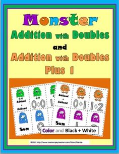 Monster Addition with Doubles and Double Plus1 Matching Activity cards with Recording Sheet