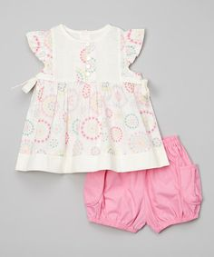 Love this Pink & Cream Angle Sleeve Dress & Bloomers - Infant & Toddler on #zulily! #zulilyfinds