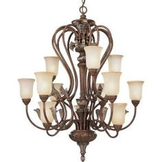 Carmel Collection Tuscany Crackle 12-light Chandelier-P4093-55 at The Home Depot