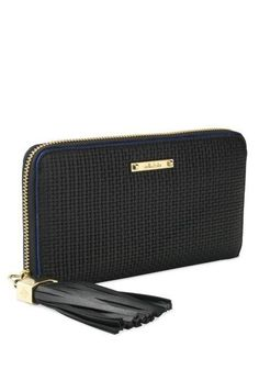 Mercer Zip Wallet - Black Basket Weave by Stella & Dot