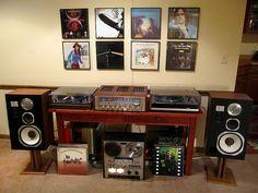 Mark Gallagher's Vintage Audiophile Music Listening Room has Marantz receiver, Thorens turntable, Thorens turntable, JBL and Akai Reel 2 Reel Tape Player. Audiophile Music, Hifi Audio, Wireless Speakers, Sound Room, Vinyl Room, Audio Room, Audio Design, Vinyl Storage, Record Players