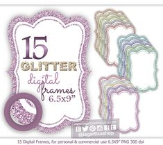 Glitter frames Patterns Digital Golden Blue Pink Purple Green Teal wedding invitations