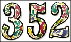 Painted metal address numbers       - See our huge selection of hand painted metal tropical decorative items for the home at www.TropicDecor.com