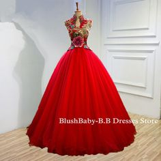 Quality Made Custom Measure 2017 High Neck Prom Party Dress A-line Ball Gown Red Green Evening Prom Party Dress Women Formal Dress Flowers Fabric:Satin ,Tulle ,Linning,Lace Applique,Embroidery Closure: corset lace up/zipper Fully Lined: Yes Built-In Bra: Yes Tailoring Time: 1-2 weeks Shipping Time: 1-3 days ****************************************************************************************** color: this dress we can made in 160 kinds of color, you can show me your favourite color...