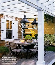 Pergola with hanging lanterns