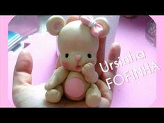 DIY - Ursinha fofa em biscuit ou porcelana fria com modelagem manual (polymer clay, cold porcelain) - YouTube