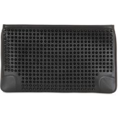 CHRISTIAN LOUBOUTIN Loubiposh Spikes Leather Clutch - Black ($1,075) ❤ liked on Polyvore featuring bags, handbags, clutches, black, black chain purse, leather purse, genuine leather purse, leather clutches and black leather handbags