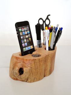 iPhone dock + Office Organizer (iPhone 4, iPhone 5 charging station from rustic wood + pen holder / paper clips Holder...) - unique gift on Etsy, Sold