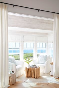 A living room with an ocean view