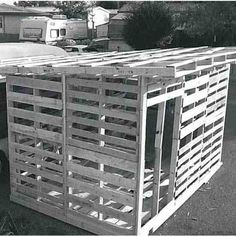 Pallet Recycled Rural Canadian shares how to build a garden shed with unconventional building plans and recycled pallet wood. - Rural Canadian shares how to build a garden shed with unconventional building plans and recycled pallet wood. Diy Storage Shed Plans, Backyard Storage Sheds, Wood Shed Plans, Backyard Sheds, Garden Sheds, Pallet Storage, Modern Backyard, Bike Storage, Garage Plans