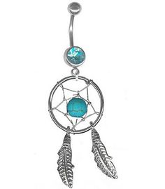 Turquoise Dream Catcher Belly Ring-Dangle Belly Button Ring-Navel Rings-14g at BodySparkle.com