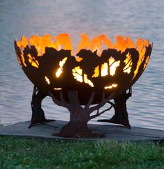 The Fire Pit Gallery Forest Fire Custom Steel Fire Pit - Outdoor Living Showroom Wood Fire Pit, Fire Pit Grill, Steel Fire Pit, Wood Burning Fire Pit, Fire Pits, Fire Pit Sphere, Fire Pit Bowl, Fire Bowls, Santa Maria