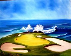 Pebble Beach     Price	Not for sale     Dimensions	20.000 x 16.000 inches  oil painting, golf painting, ocean painting, seascape painting, sand trap painting, Marcel Quesnel