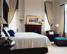 navy + cream + bedroom fireplace