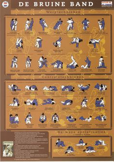 """Throws- and Control-Techniques to attain the Brown belt. From the Judo Infographic: """"Judotechnieken: De Bruine Band"""" Judo Moves, Boxer Workout, Judo Gi, Judo Training, Judo Throws, Jiu Jitsu Techniques, Martial Arts Quotes, Ju Jitsu, Martial Arts Techniques"""