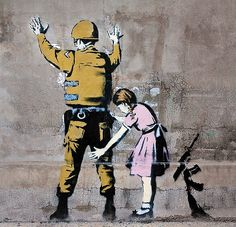 The Story Behind Banksy (anonymous British street artist); English culture lesson for advanced ESL, advanced English reading practice, history and culture for ESL