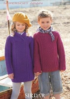 Sirdar supersoft aran boys and girls jumpers 2338 Jumper Patterns, Knit Patterns, Sirdar Knitting Patterns, Jumper Outfit, Girls Jumpers, Boys Sweaters, Weaving Patterns, Fashion Gallery, Knit Dress