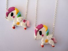 clay unicorn necklace with rainbow mane