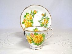 Teacup and Saucer  Royal Albert Yellow Roses by twocheekychicks