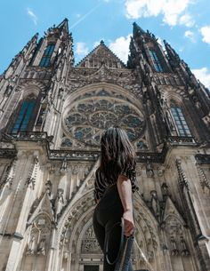12 Astonishing Gown Snapshots Woman Standing In Front Of Church Prague Cathedral, Prague Castle, Barcelona Cathedral, Aztec Jacket, Tree Logs, Church Architecture, Woman Standing, Cathedrals, Fashion Pictures