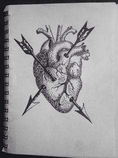 Dotwork heart and arrows by NTxLadyBluex.deviantart.com on @DeviantArt